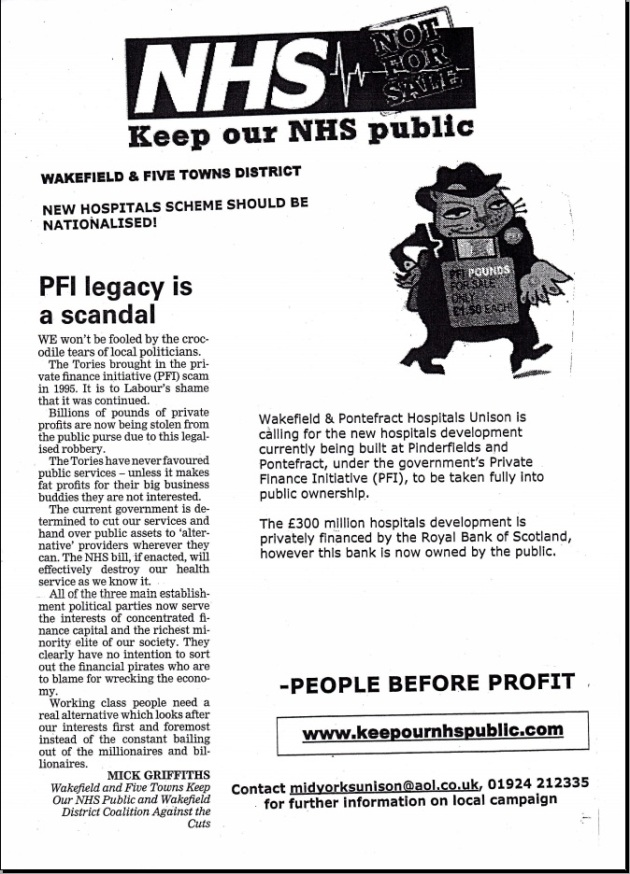 Keep Our NHS Public, Socialist Party Flyer