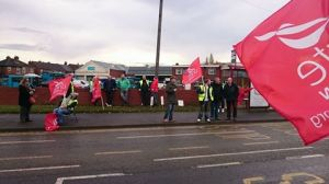 Unite members picketing outside the Castleford depot - photo Iain Dalton